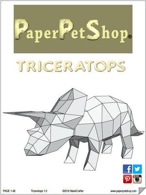 Triceratops, Printable Papercraft Template, DIY LowPoly Paper Pet Dinosaur. Printable Dino pdf. Boys gift