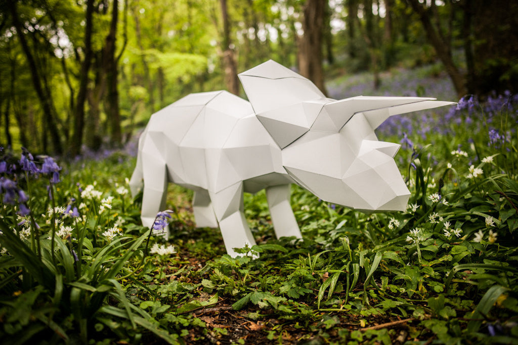 Triceratops Printable Papercraft Template Diy Lowpoly Paper Pet