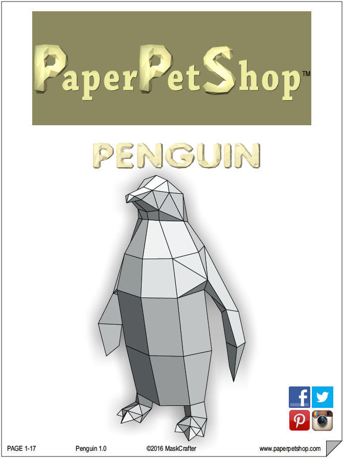 Diy Paper Pet Penguin D Papercraft Template  Paperpetshop