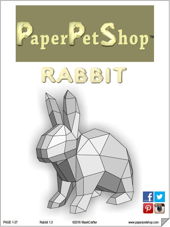 easter bunny rabbit papercraft template giant size paperpetshop