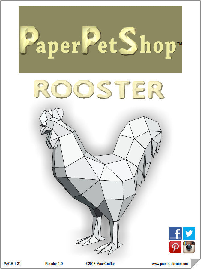 Rooster, Printable Papercraft Template, DIY Paper Pet Rooster. 2017 ...