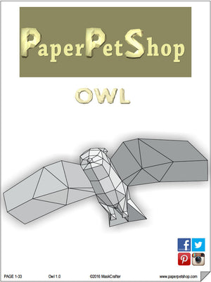 Owl Papercraft Template, DIY Origami Paper Forest Pet