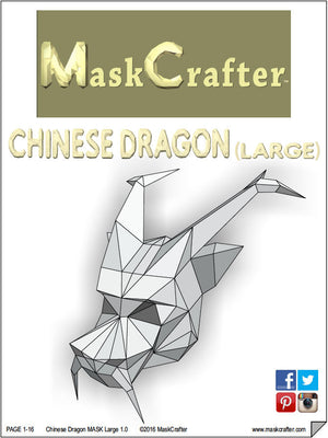 Paper Chinese Dragon Halloween Mask, Printable Mask, DIY instant download, 3D