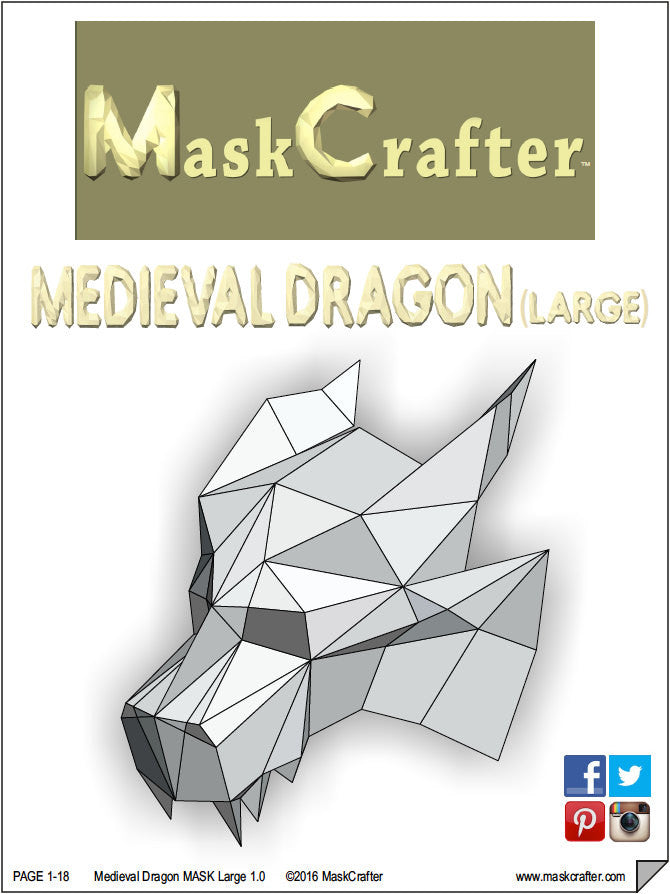 Paper Medieval Dragon Mask Printable DIY Instant Download