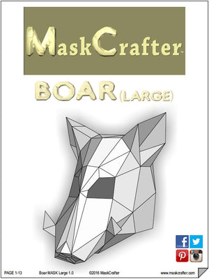 Halloween Paper Boar Mask, 3D Papercraft Template, Party Mask, DIY Instant Download