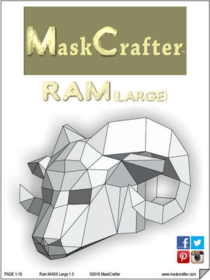 Paper Ram Mask, Printable Mask, DIY digital download