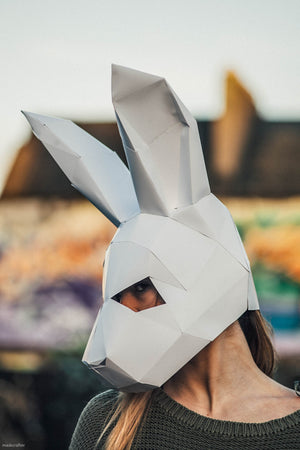 Paper Halloween Bunny Rabbit Mask, Papercraft Template, Festival Mask, DIY Instant Download