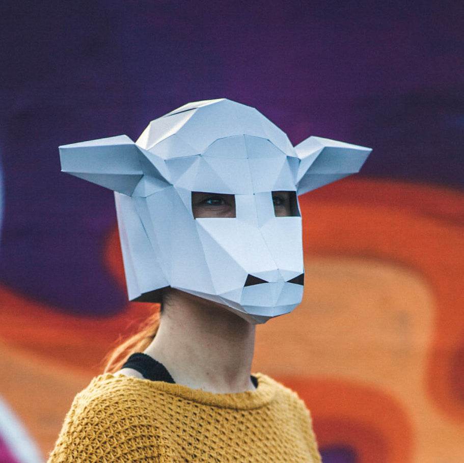 Paper Sheep /Lamb Mask, Papercraft Template, DIY Instant Download