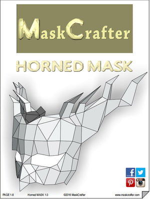 Horned Halloween Demon Mask, Papercraft Template, Festival Mask, DIY Instant Download