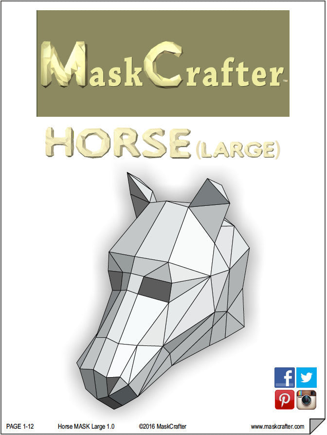 Paper Horse Mask Papercraft Template Printable DIY Instant Download