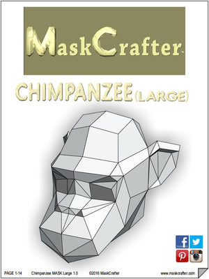Printable Paper Monkey /Chimp Mask, Papercraft Halloween Template, DIY Instant  Download