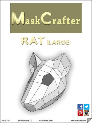 Paper Rat Mask, Papercraft Template, Printable Mask, DIY Digital Download
