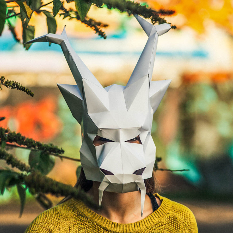 Paper Chinese Dragon Halloween Mask Printable Mask DIY Instant