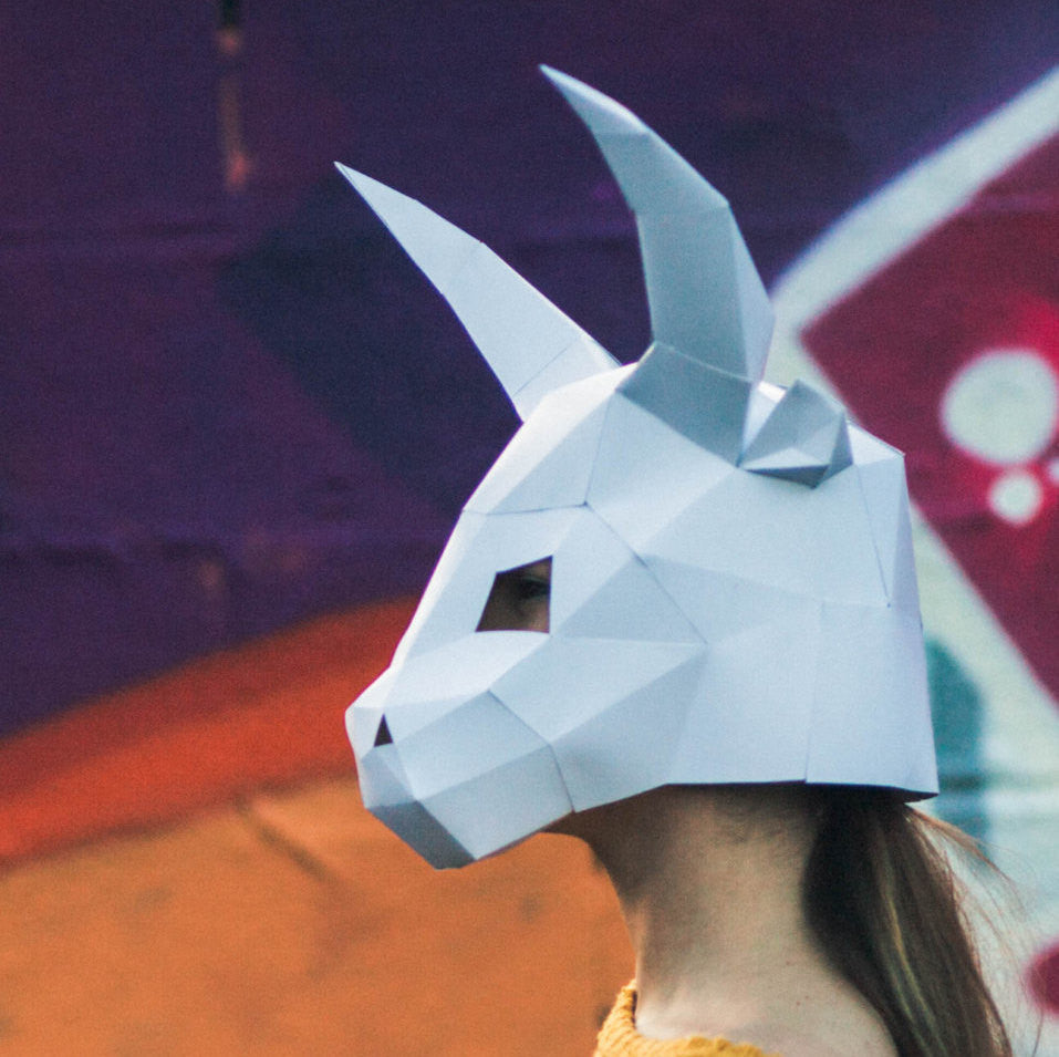 Halloween Paper Bull Ox Mask Papercraft Template Festival DIY Instant Download