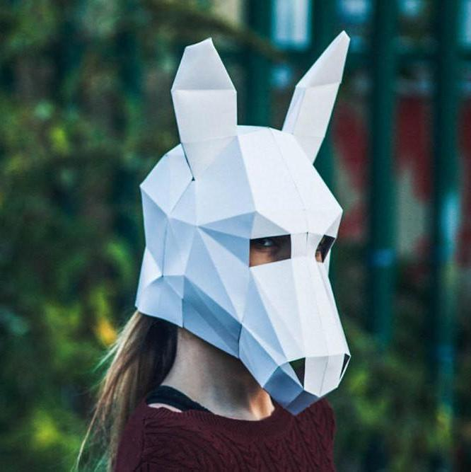 3D Paper Donkey Halloween Mask, Papercraft Template, Printable Mask, DIY instant download,