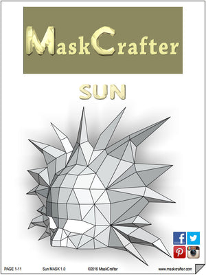 Sun Masquerade Carnival Mask, Papercraft Template, Festival Mask, DIY Instant Download