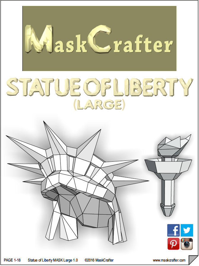 3d paper statue of liberty halloween mask printable papercraft 3d paper statue of liberty halloween mask printable papercraft template diy instant download pronofoot35fo Gallery