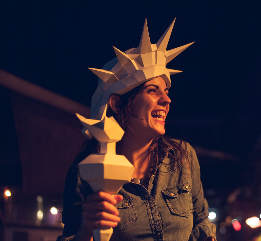 3D Paper Statue of Liberty Halloween Mask, Printable Papercraft Template, DIY instant download