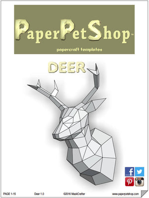 Deer/Stag Papercraft trophy template, Instant Digital Download