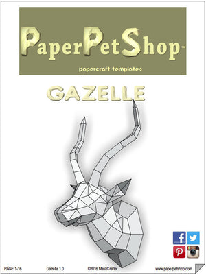 Gazelle/Antelope Papercraft trophy template, Instant Digital Download