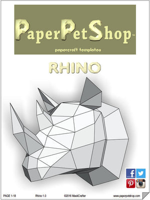 Rhino Papercraft trophy template, Instant Digital Download