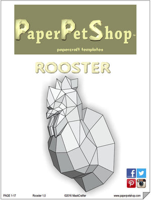 Rooster Papercraft trophy template, Instant Digital Download