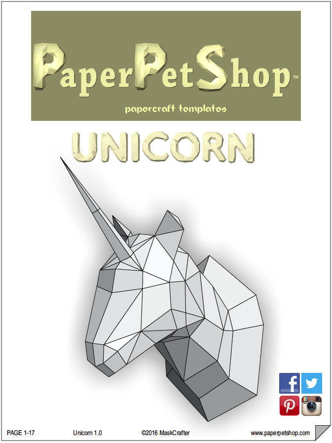 unicorn papercraft trophy template instant digital download
