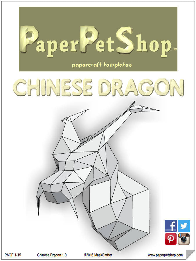 Chinese Dragon Papercraft Trophy Template Instant Digital Download