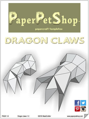 Medieval dragon Papercraft trophy template, Instant Digital Download