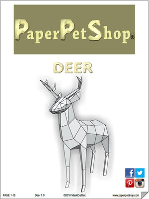 Paper Deer/Stag, Papercraft Template. Paper Forest Pet. Printable pdf