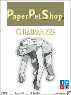 Chimpanzee/Chimp,  3d Papercraft Template, DIY Low Poly Paper Forest/Jungle/Safari Pet. Printable pdf