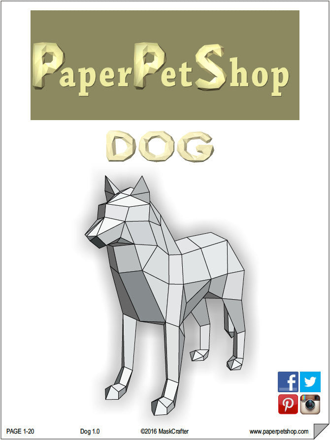 3d wolf dog papercraft template instant download perfect gift