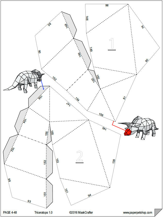 How to make triceratops with paper