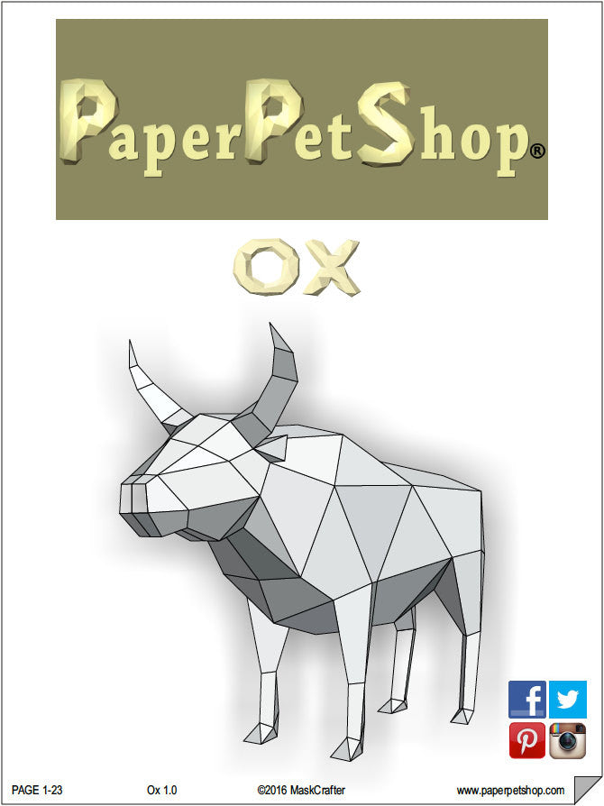 ox bull cow papercraft template instant download paperpetshop