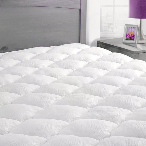 Extra Plush Bamboo Top Mattress Pad with Fitted Skirt
