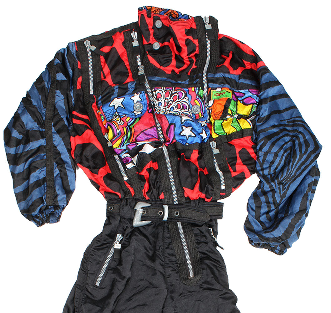 CRE-ACT - SKI SUIT - RED / BLUE CRAZY PRINT - L - Ski Suit