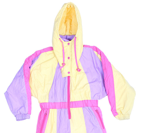 SKI SUIT - YELLOW / PURPLE BLOCK PRINT - KIDS - Ski Suit