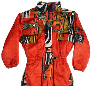 LEMMI - ORANGE/CRAZY PRINT - SKI SUIT - XS - Ski Suit