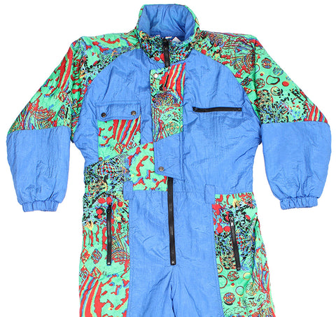 SKI SUIT - BLUE CRAZY PRINT - KIDS - Ski Suit