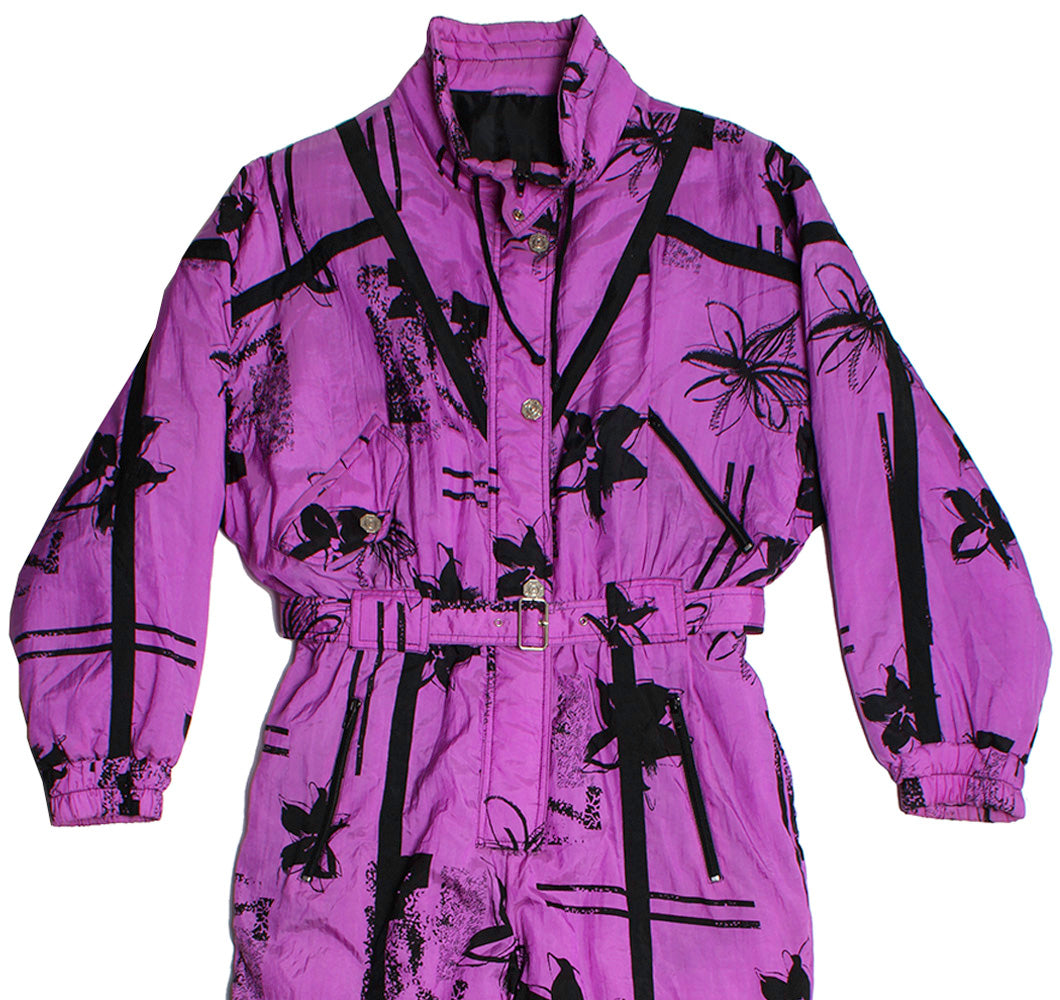PURPLE CRAZY PRINT - SKI SUIT - M - Ski Suit