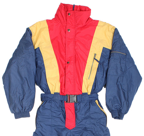 KIABI - SKI SUIT - RED / GOLD / BLUE - S - Ski Suit