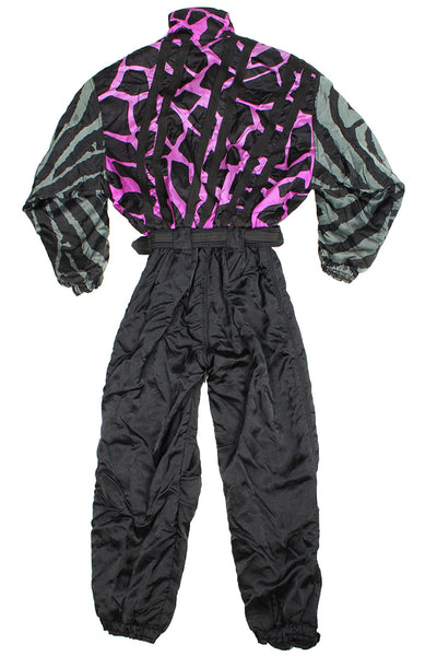 CRE-ACT - SKI SUIT - PURPLE / GREY CRAZY PRINT - S/M - Ski Suit