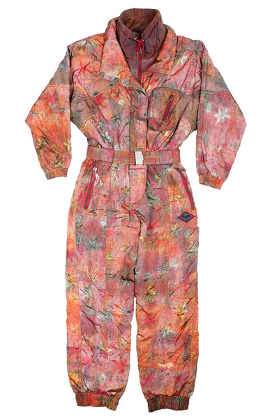 SPORT COMPANY - SKI SUIT - RED ABSTRACT PRINT - M - Ski Suit
