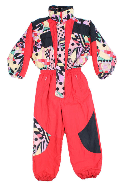 POCOPIANO - SKI SUIT - RED CRAZY PRINT - KIDS - Ski Suit