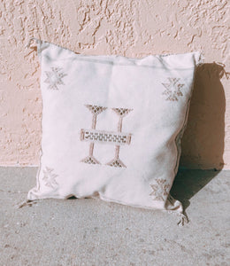 White Cactus Silk Pillow