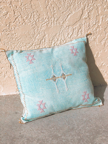 Light Turquoise Blue Cactus Silk Pillow
