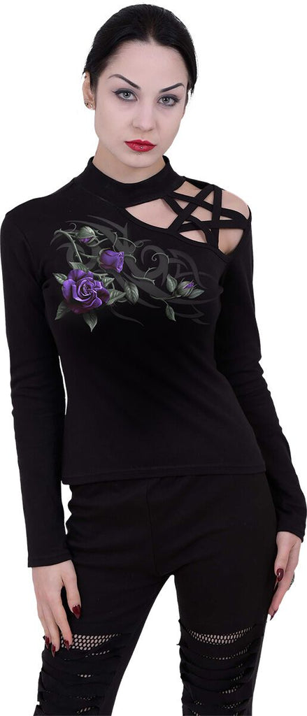 Spiral - Tribal Rose - Women's Pentagram Shoulder Top