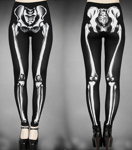 Restyle - SKELETON BONE - Womens Black Leggings