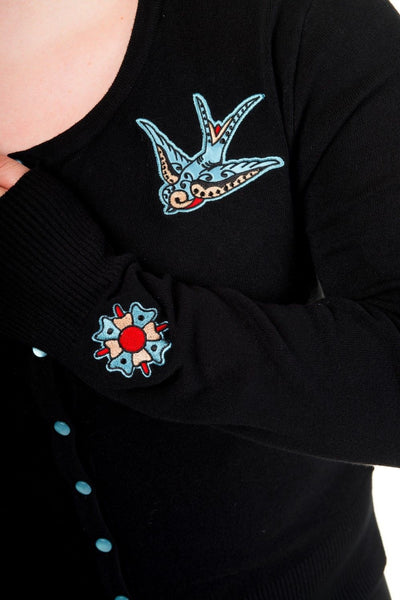 Banned - BLUE SWALLOWS - Women's  - Long Sleeve Cardigan