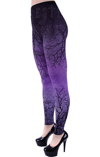 Restyle - PURPLE BRANCHES - Women's Leggings - Purple